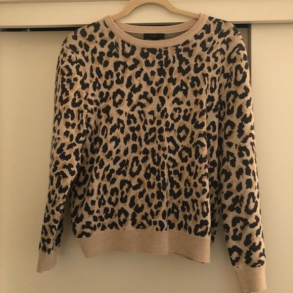 2b9d0574d6c2 J. Crew Sweaters | J Crew 100 Merino Wool Tan Leopard Sweater | Poshmark